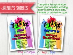 TRAMPOLINE or DANCE Printable Party Birthday Invitation by Renee's Soirees. Available in pastels or primary colors. Printable Birthday Invitations, Party Printables, Party Invitations, Trampoline Party, Bounce House Parties, Invitation Design, Invite, Girl Birthday, Party Time