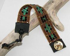 Bronze, Green, and Black Bead Loom Bracelet by AdoraDesigns on Zibbet