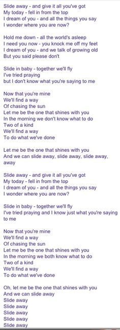 noel gallagher slide away lyrics. Lyrics And Chords, Cool Lyrics, Music Words, Music Quotes, Oasis Slide Away, Liam Gallagher Noel Gallagher, Oasis Lyrics, Liam And Noel, Literary Quotes