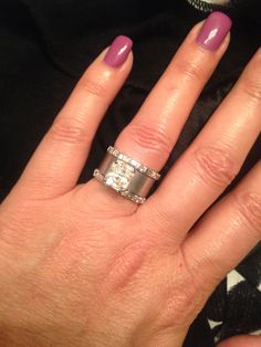 Stunning Wide band ring wedding ring engagement ring radiant cut white sapphire baguette
