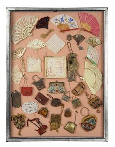 Framed Collection of Victorian Accessories for Lady Dolls.