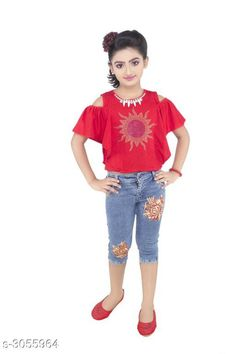 Checkout this latest Clothing Set Product Name: *Adorable Kid's Girl's Clothing Sets* Top Fabric: Hosiery Bottom Fabric: Denim Sleeve Length: Short Sleeves Top Pattern: Embellished Bottom Pattern: Embroidered Multipack: Single Add-Ons: No Add Ons Sizes: 3-4 Years, 4-5 Years, 5-6 Years, 6-7 Years, 7-8 Years, 8-9 Years Easy Returns Available In Case Of Any Issue   Catalog Rating: ★4.1 (501)  Catalog Name: Latest Adorable Kid's Girl's Clothing Sets Vol 8 CatalogID_418103 C62-SC1147 Code: 415-3055964-1941