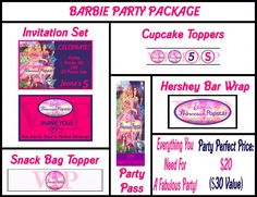 Party Package: Invitation & More  https://www.etsy.com/listing/110791991/barbie-princess-and-the-popstar-birthday?ga_search_query=barbie