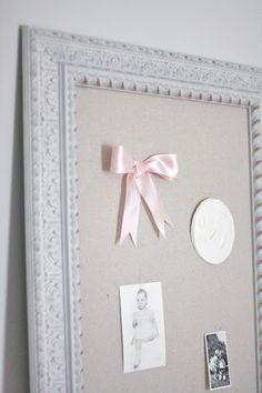 diy pinboard - pin sentimental items, artwork and heirlooms