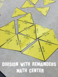 Division with remainders, 30 problem, three digit divided by one digit, puzzle ideal for math center work. Can be used by small group, partners, or individual students.