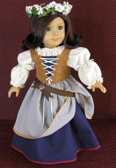 Renaissance Faire peasant for 18 inch doll clothes like American Girl, spinning…