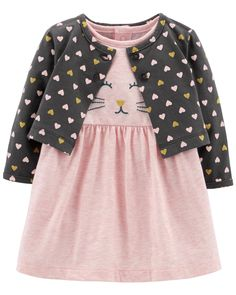 Featuring a bodysuit dress with an embroidered kitty face and a polka dot cardigan, this set makes an oh-so cute outfit. Carters Baby Clothes, Carters Baby Girl, Baby Girls, Little Girl Dresses, Girls Dresses, Dress Girl, Baby Dress, Toddler Outfits, Kids Outfits
