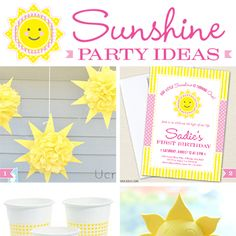 """Whether you're planning a """"You Are My Sunshine"""" birthday, a sunny summer party, or maybe just want to add a sunor two to your pool party theme, these sunshine party ideas will help you get started! I started with my sunshine party invitation as inspiration ..."""