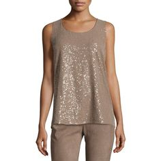 Lafayette 148 New York Elise Sleeveless Ombre Sequin Blouse (€120) ❤ liked on Polyvore featuring tops, blouses, taro, sequin top, sleeveless pullover, brown blouse, brown top and sequin blouse