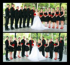 Wedding party pictures. Groomsmen have black on black tuxes with red ties, bridesmaids have black dresses with red shoes and red roses, updo's.  View more from this black and red wedding: http://www.pinterest.com/nyxchamp/my-black-red-wedding/