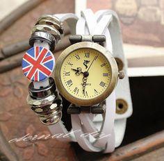 Braid rims British flag hidden-interlocking leather watch watch han edition men and women