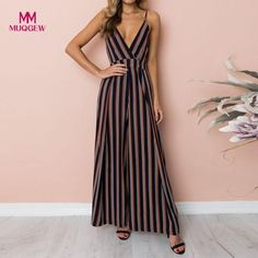 026835b292d7 Isiksus 2018 Sexy Strap V-neck Backless Striped Lace Up Summer Women  Rompers Jumpsuit Elegant Beach Vintage Loose Jumpsuit