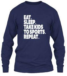 Sports Mom Tshirt Eat Sleep  Navy T-Shirt Tay Dài Front
