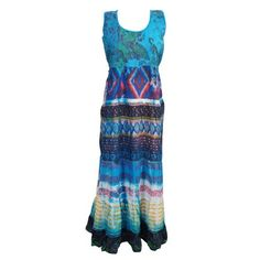 Mogul Women's Long Dress Blue Cotton Printed Tie Back Sleeveless Beach Dresses    https://www.walmart.com/search/?cat_id=0&grid=true&page=7&query=MOGUL+INTERIOR+DRESS+#searchProductResult