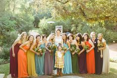All different color bridesmaid dresses