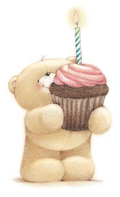 Happy Birthday bear w/cupcake