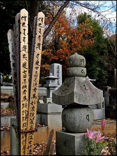 Buddhist grave markers. Most get married in the Shinto rite, but their passing is done in the Buddhist rite.
