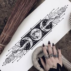"poisonappleprintshop: ""The original drawing of 'As Above, So Below.' 🌙 (at Pennsylvania) "" Tattoo Sketches, Tattoo Drawings, Body Art Tattoos, New Tattoos, Cool Tattoos, Tatoos, Pagan Tattoo, Witch Tattoo, Tattoo Symbols"