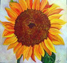 Big Sunflower on Canvas  10 x 10  Original by SharonFosterArt, $85.00