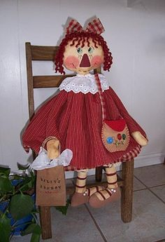 Annabelle's Mom...Raggedy Cloth Doll by oneoftheflock on Etsy