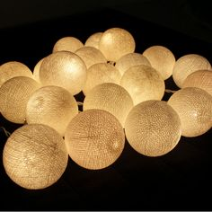 20 White Cotton Ball String Lights by Pattrawan on Etsy, $12.99