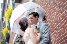 Taking wedding photos in the rain...