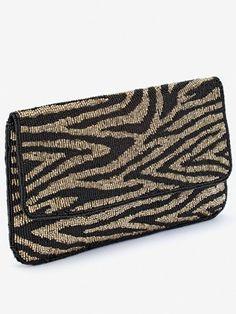 DuneEbba Zebra Beaded Clutch Bag