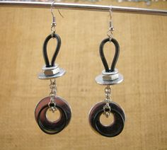 Handmade Industrial Hardware Earrings with washers-rubber cord- silver plated chain.