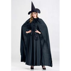 SESERIA Black Halloween Costume Witch Costume Party Cosplay for Women S M L XL #Halloween Witch Costumes Black Halloween Costumes, Witch Costumes, Raincoat, Cosplay, Party, Jackets, Shopping, Dresses, Women