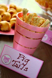 """Piggie party food - """"Pigtails"""""""