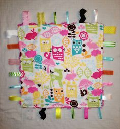Owl Minky Tag Blanket by CashAndCari on Etsy, $15.00