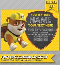 Paw Patrol Invitation Instant Download por ePartyPrintables