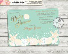 Beach bridal shower invitation wedding shower invite seashells under the sea printable baby shower invitation by littlerosestudio filmwisefo Images
