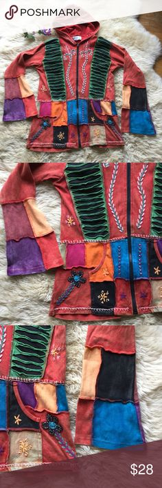 Happy Colors Bohemian Sweatshirt Hoodie Happy Colors Bohemian Sweatshirt Hoodie. EUC, there is purposeful discoloration in some areas. Size XL. EUC. Patchwork boho style. Bundle 3 or more items for 15 % off! Happy Colors Tops Sweatshirts & Hoodies