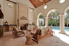 Fabulous outdoor Renaissance Precast fireplace - and columns!