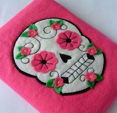 Felt iPad Case Sugar Skull Tattoo Design by TheDollCityRocker, $70.00