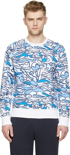 Dsquared2 Blue & White Scribble Print Sweatshirt