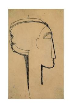 Head in Profile Giclee Print by Amedeo Modigliani at Art.com