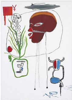 """jareckiworld: """" Jean-Michel Basquiat - For B. (acrylic and oilstick on canvas, """" Jean Michel Basquiat Art, Jm Basquiat, Land Art, Gouache, Thing 1, Outsider Art, French Artists, Colorful Paintings, Naive Art"""