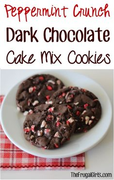 Peppermint Crunch Dark Chocolate Cake Mix Cookies Recipe! ~ from TheFrugalGirls.com ~ just 4 ingredients and you've got the most delicious cookie EVER!! #recipes #thefrugalgirls