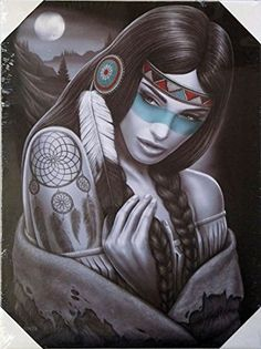DGA Day of the Dead Native American Stretched Wood Frame Canvas Wall Art Inches - Dreamcatcher Native American Tattoos, Native American Women, American Indian Art, American Indians, Lowrider Art, He Man Tattoo, Tattoo Indien, Native Art, Native Indian