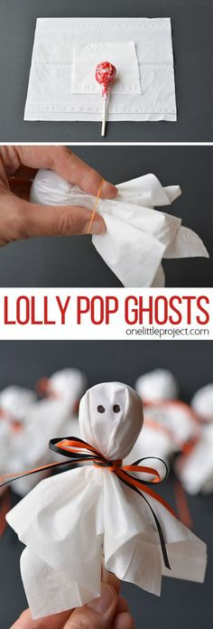 These lolly pop ghosts are SO CUTE! They're super easy and make a fun treat to send to school for Halloween! These lolly pop ghosts are SO CUTE! They're super easy and make a fun treat for a Halloween party or to send to school on Halloween! Theme Halloween, Fröhliches Halloween, Halloween Goodies, Halloween Food For Party, Halloween Cupcakes, Holidays Halloween, Halloween Projects, Diy Halloween Treats, Diy Halloween Party Decorations