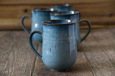 Blue Ceramic Mugs / Mugs / Set of 4 Mugs or 6 Mugs / Stoneware Mugs / Rustic Pottery / Pottery Dishes / Blue Pottery / New Home Gift Blue Coffee Mugs, Coffee Mug Sets, Mugs Set, Tea Mugs, Coffee Iv, Coffee Shops, Blue Pottery, Pottery Mugs, Ceramic Pottery