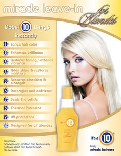 Its A 10 Hair Care leave in conditioner for blonde! This is miracle stuff for true blondes or us faux blondes with highlights. Gives highlights that just-got-done look!!!