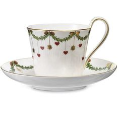 Royal Copenhagen Star Fluted Christmas Cup and Saucer