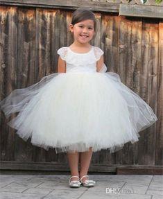 JaneVini White Tea Length Cheap Flower Girls Dresses For Weddings Party  Tulle Cute Ball Gown Kids Formal Prom Wear Prenses Elbisesi Prenses  Elbisesi Abiti ... e95918002c00