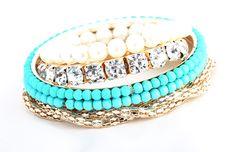 Ladies Delicate European Stylish Beads Multilayer Lakeblue Bracelets