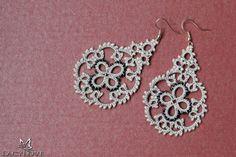 Tatted  earrings  Dangle earrings  Chandelier by LacyLoveJewelry