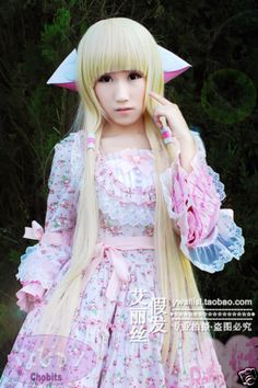 Chobits-Chii-Blonde-Light-Gold-Straight-100CM-Anime-Cosplay-Wig-Ears-Wig-CAP