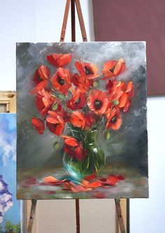 """Watercolor painting """"Red Tulips"""" by Julia Kirilina Simple Oil Painting, Oil Painting Flowers, Oil Painting On Canvas, Painting & Drawing, Canvas Art, Acrylic Art, Painting Inspiration, Art Pictures, Flower Art"""